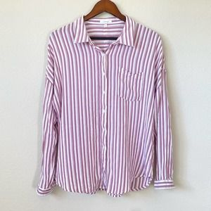 MAURICES Casual Striped Button Down Shirt Large Purple/White